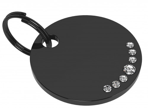Stainless Steel Black 7 Swarovski Stones white